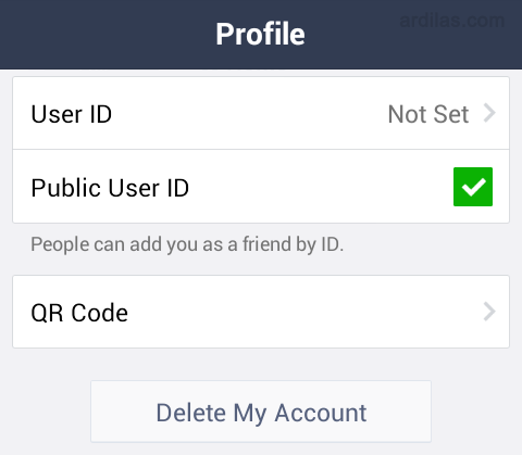 Halaman profile - Cara Menghapus / Delete Akun Line - Android