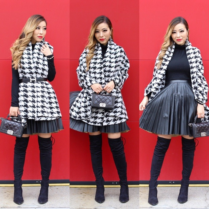 Glamorous Dogtooth Blanket Cardigan, asos pleated leather look skirt, hermes belt, OTK boots, steve madden otk boots, chanel boy bag, baublebar earrings, kendra scott bracelets, how to wear blanket scarf, hermes belt, fashion blog, winter fashion