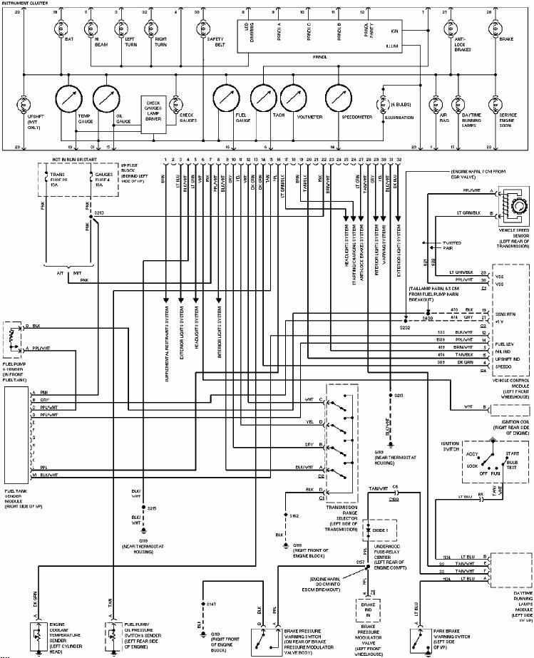 diagram on wiring  chevrolet camaro 1997 instrument
