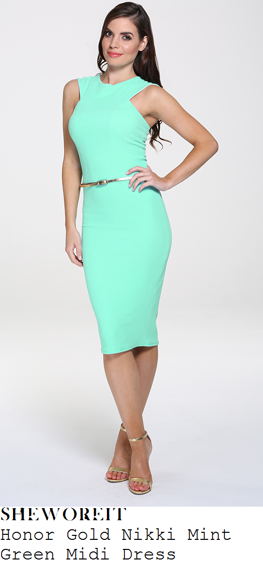 michelle-heaton-mint-green-sleeveless-bodycon-midi-dress