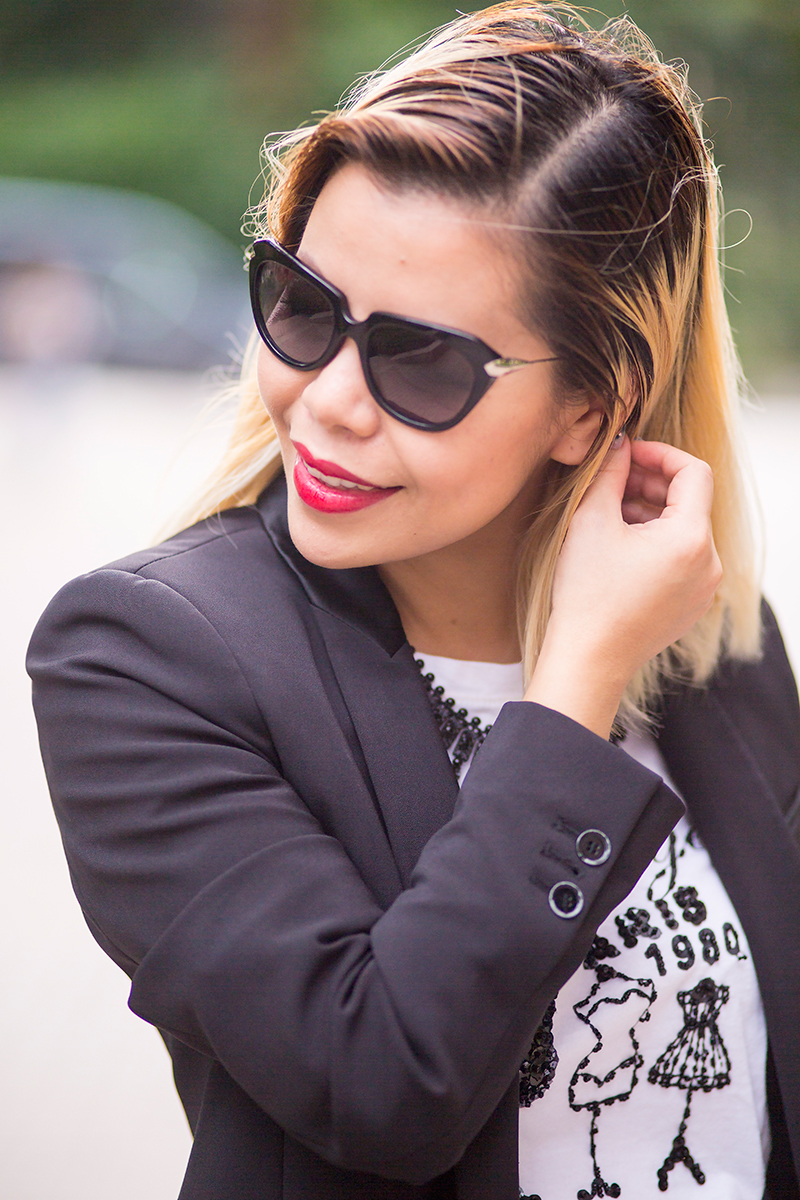 Crystal Phuong- Singapore Fashion Blogger- Business casual attire with blazer and skorts