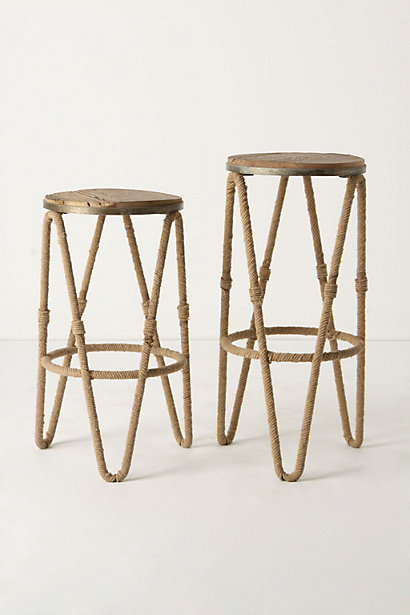 Reata Barstool - A Stool Made of Wood, Iron and Twisted Rope.