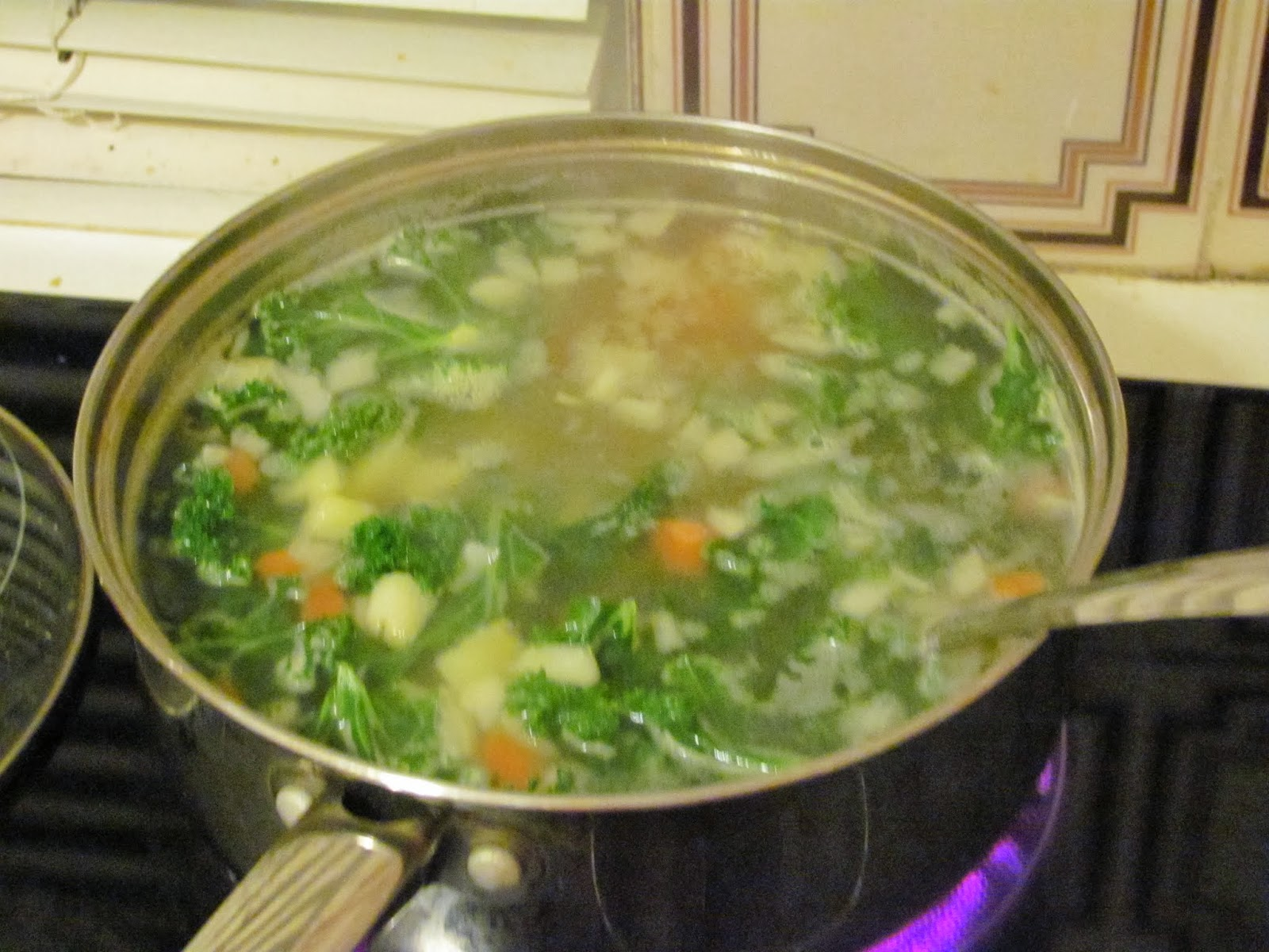 Cooking down everything in the soup