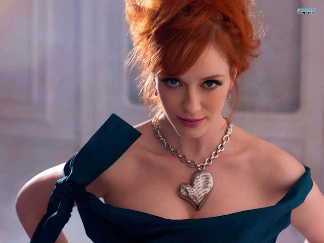 Christina Hendricks sexy in blue dress fashion