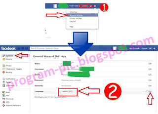 How to change language facebook account to English US