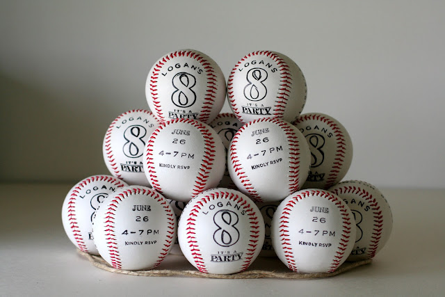 Baseball birthday party invitations on real baseballs