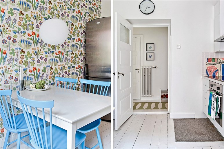 My scandinavian home lime green and blue in a swedish for Lime kitchen wallpaper