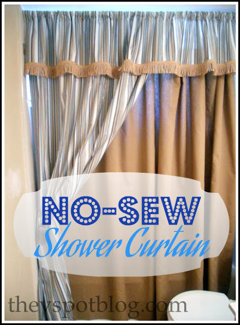 no-sew, shower curtain, bath decor, fabric, glue gun