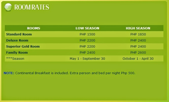 Oriental Sabang Hill Resort Room Rates