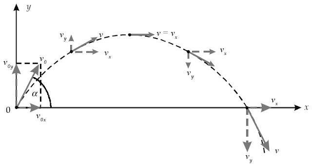 Arah gaya pada lintasan gerak parabola.