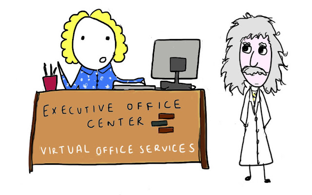 Professor Einstein seeks a discount on Queens virtual office services at the Executive Office Center.