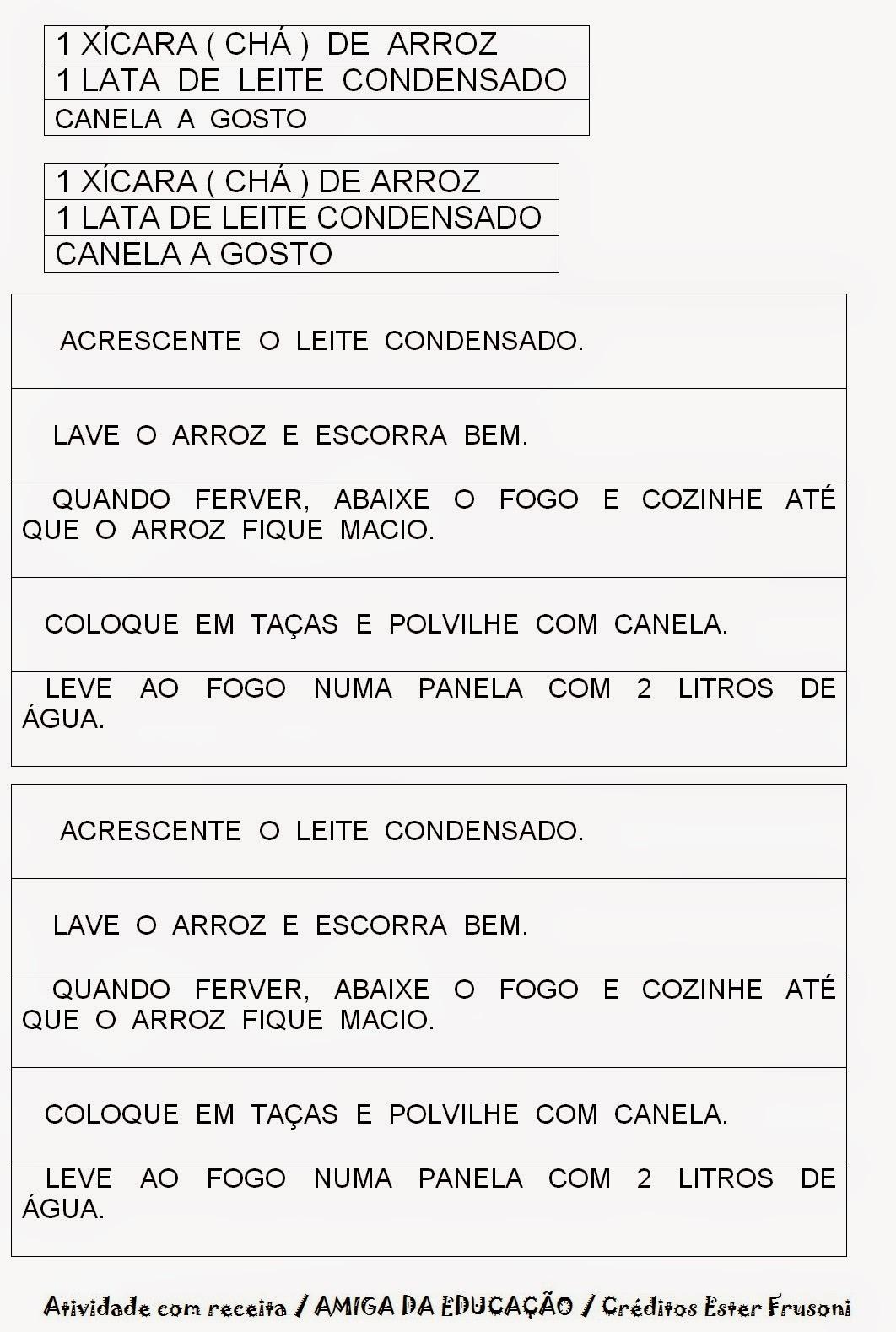 Populares AMIGA DA EDUCAÇÃO.: Atividade com receitas. Gênero textual / Receitas. PR99