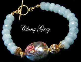 Aquamarine Bracelet with Abalone