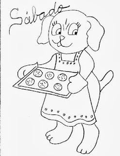desenho cachorrinho fazendo biscoitos