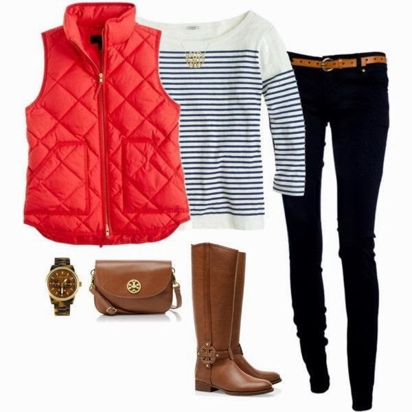 Red Sleeveless Jacket, White Sweater, Black Pants, Long Boots and Handbag