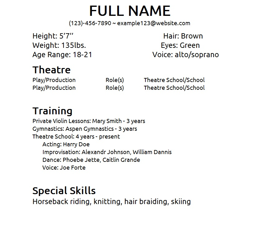 resume format for actors resume cv cover letter - Acting Resume Beginner
