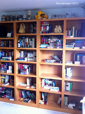 bookshelves during