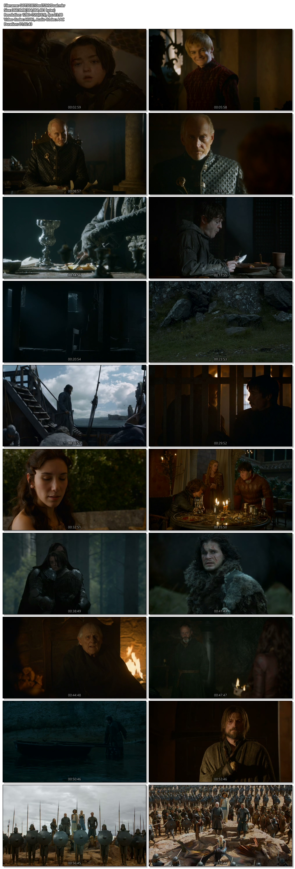 Screenshots Of Hindi Dubbed Show Game of Thrones 2013 Season 03 Episode 10 300MB 720P HD