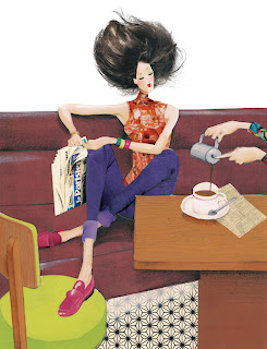illustration of a fashion woman in a paris cafe reading newspaper by robert wagt