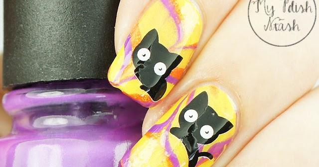 My Polish Stash: [Halloween] Black Cat watermarble nails