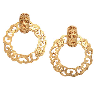 Vintage 1980's gold Chanel hoop earrings