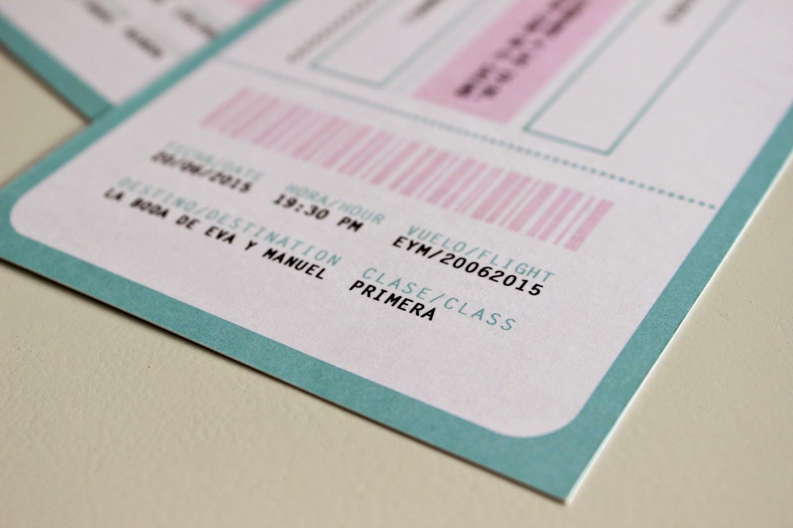 invitaciones de boda originales billete de avión