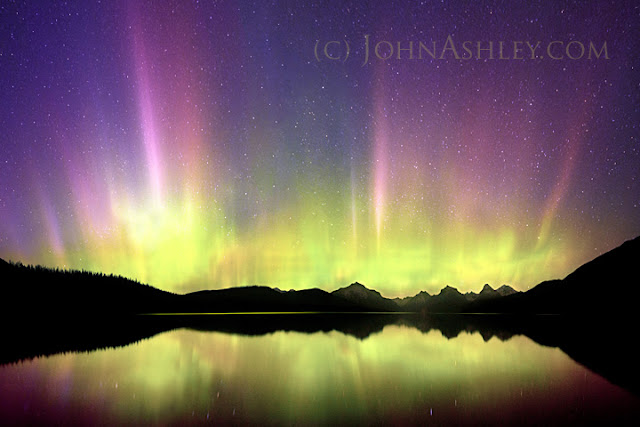 Northern Lights over Lake McDonald in Glacier National Park, Montana (c) John Ashley