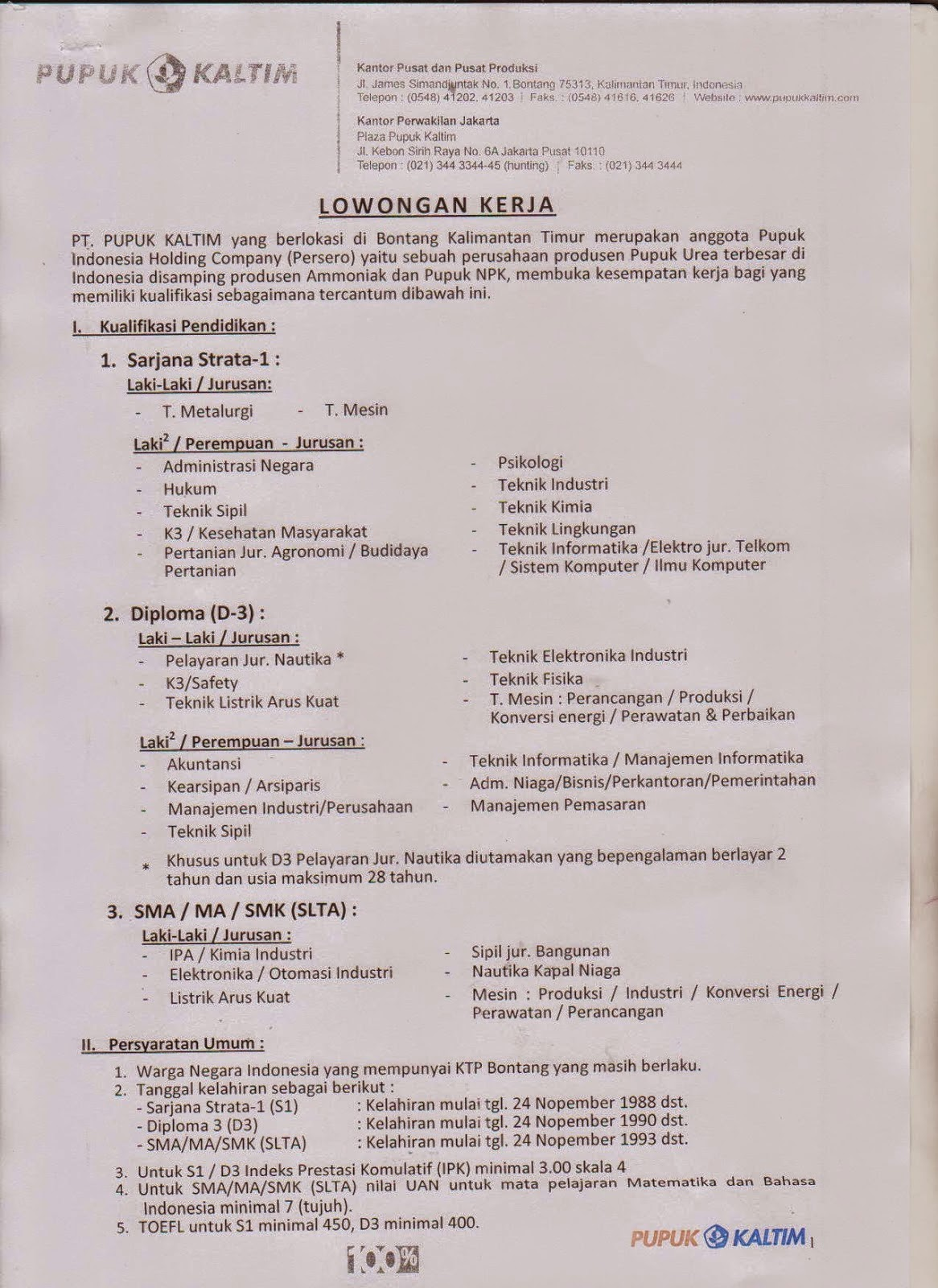 Lowongan Kerja Terbaru PT.Pupuk Kaltim Bontang November 2014 - www.pupukkaltim.com
