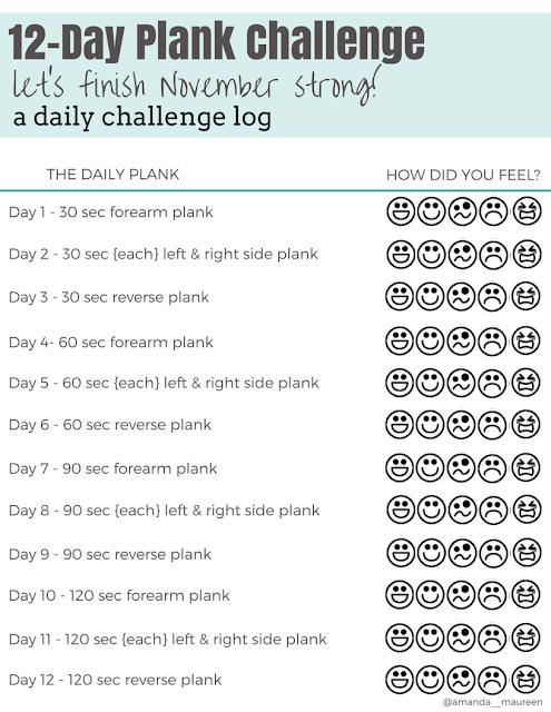 Plank Challenge, Printable, Free, Challenge Log