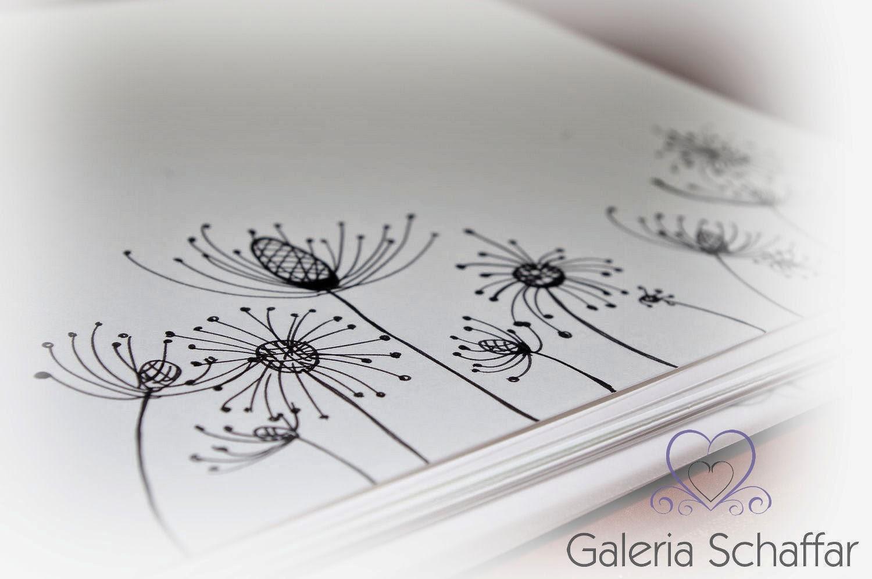 ręczne rysunki na zamówienie kwiaty czarne na białym