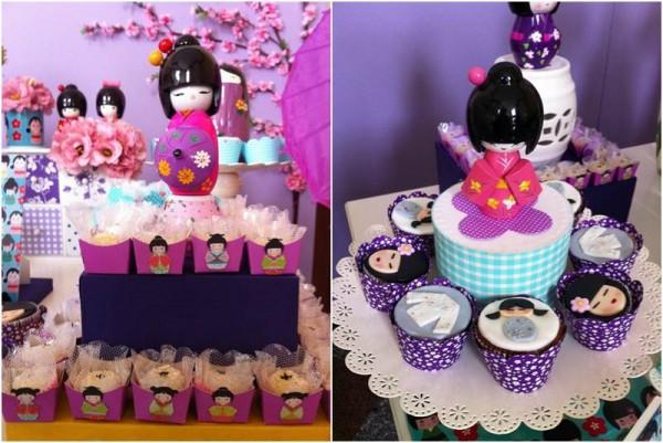 decoracao festa kokeshi:Encontrando Festas: Chá de bebe Boneca Kokeshi