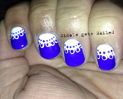 Cobalt Blue with White Lace Nail Art