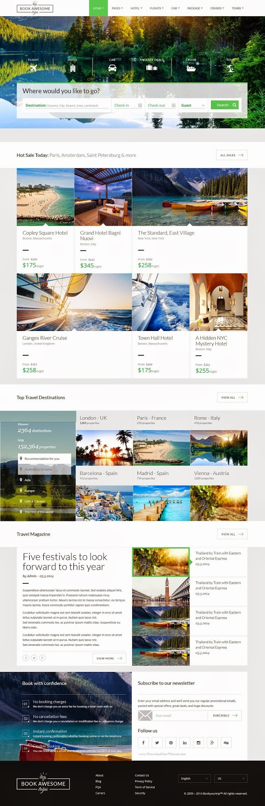 Responsive Travel Booking Site Template