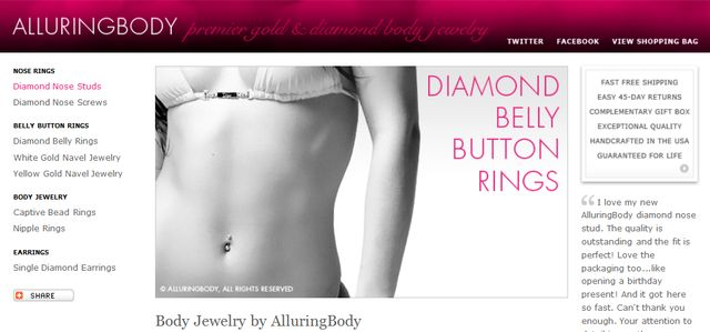 Gold and diamond body jewelry