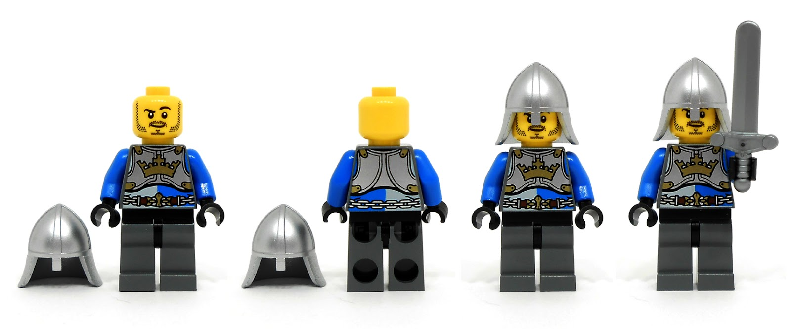 Lego fantasy era crown knight scale mail with crown breastplate - This King S Knight And Spear With Scale Mail Torso Print Both Front And Back Single Sided Face Print He Has A Metallic Silver Helmet With Broad Brim