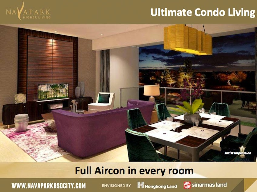 Full Aircon Marigold NavaPark Condo BSD