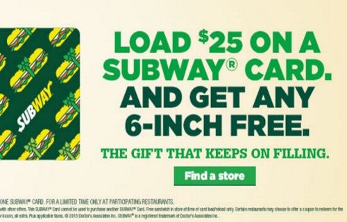 Subway Holiday Free 6 Inch Sub When You Buy $25 Gift Card