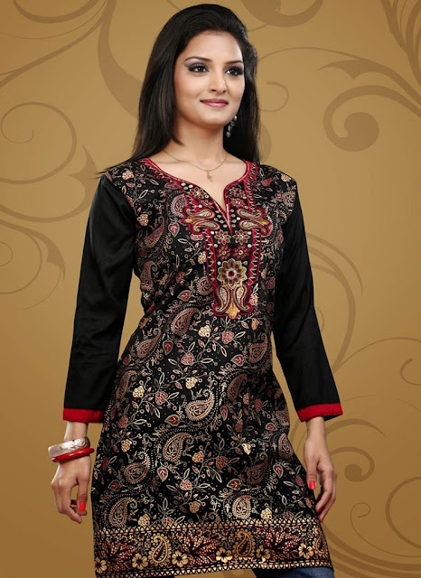 Buy Online Crepe Black Kurti Design Collection