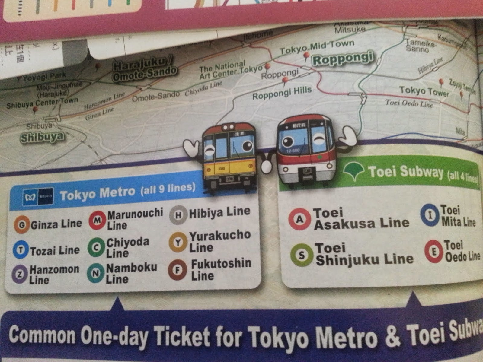 Different colour coded with a letter to represent every subway company followed by a number in an order to show the route of a train in Tokyo, Japan