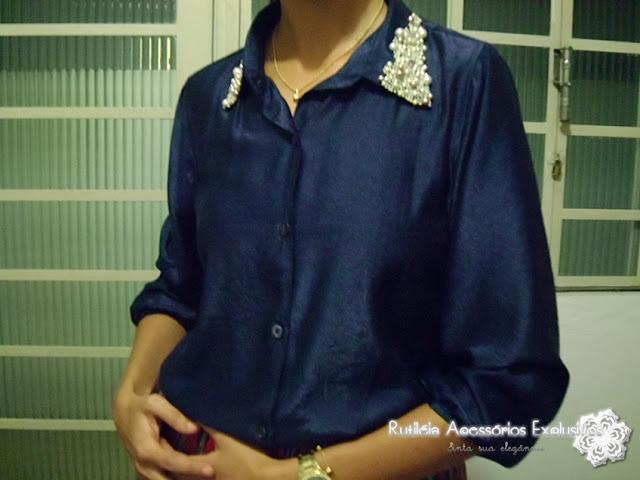 tecido de seda azul marinho bordada com pérolas