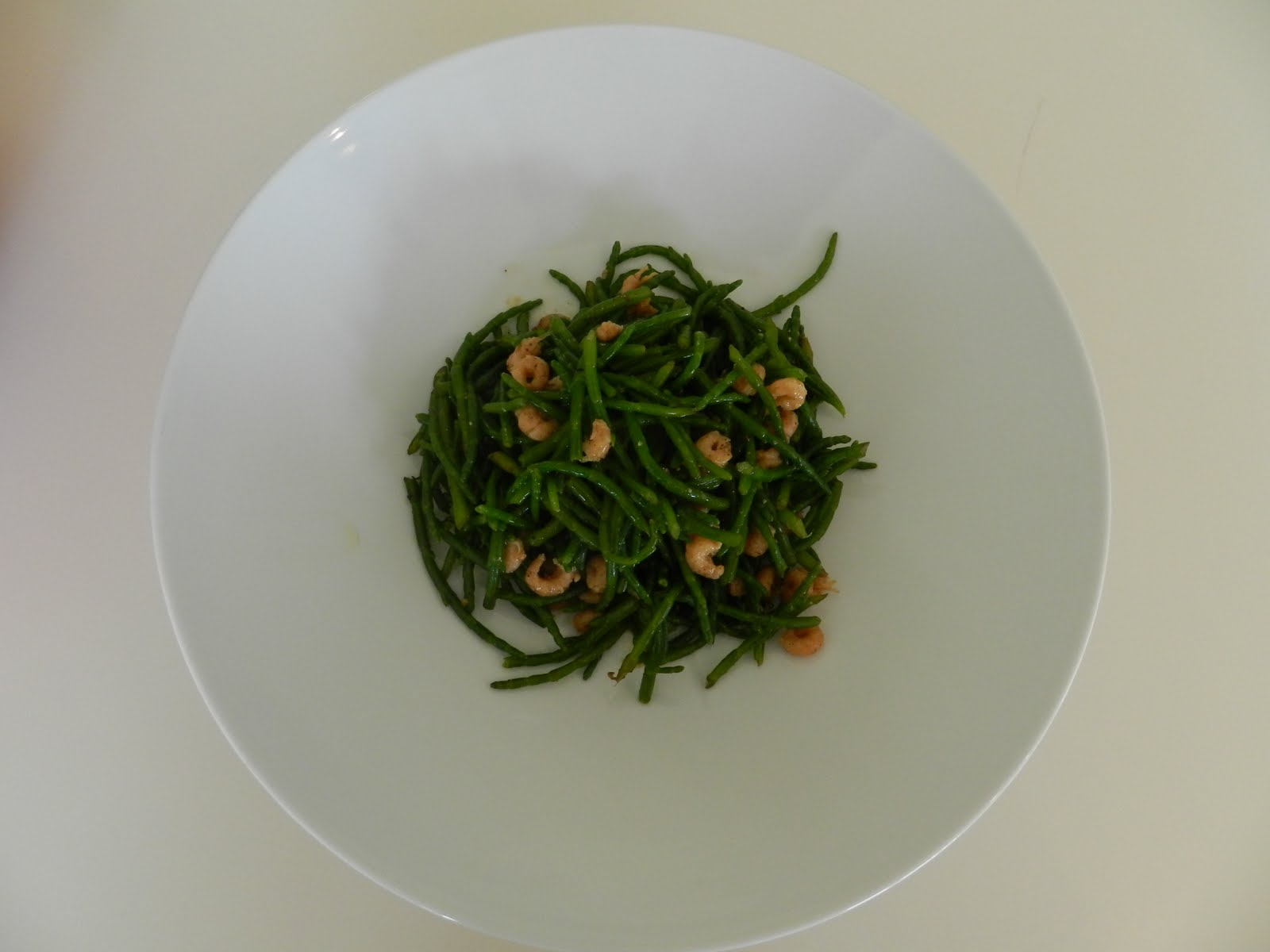 Samphire grass with our homemade potted shrimp.