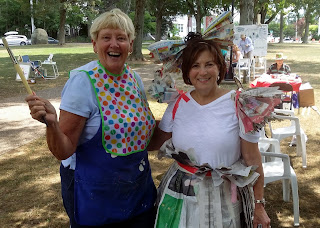 Sue Sheridan and Tina Guarino happily getting into their art work