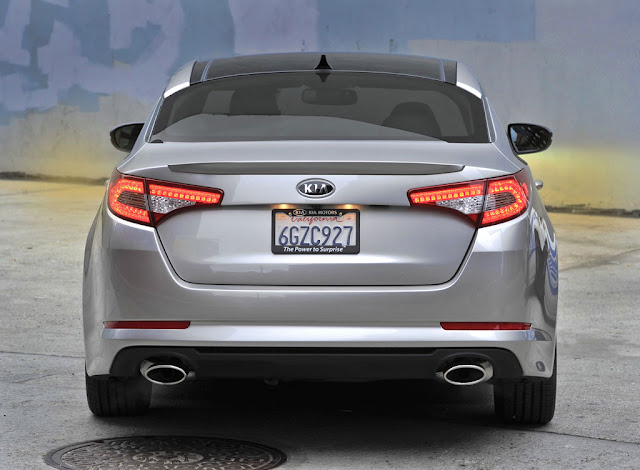 Rear view of silver 2011 Kia Optima