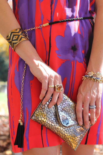 the Queen City Style, Akiko dress and JJ Winters clutch from Lipp Boutique, Cuff from Sloan, Tory Burch pumps from summerbird, Blinde sunglasses, Melinda Maria cocktail ring, earrings from JT Posh, at the Mint Museum
