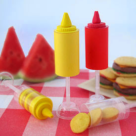 Ketchup and Mustard Push-Up Pops