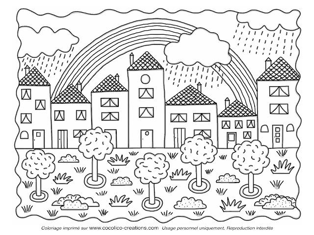 Cocolico creations mercredi coloriage 3 arc en ciel - Dessin maison de campagne ...