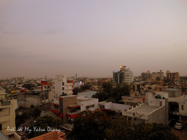 360 degree panoramic view of the city from the budget Hotel Kalyan, Jaipur, Rajasthan