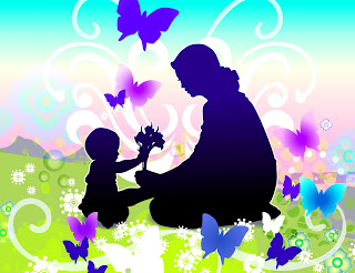 sillhouette of a child and mother with butterflies