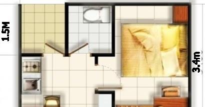 contoh denah rumah minimalis type 36 dengan 2 kamar tidur