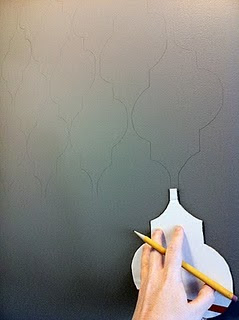 Remodelaholic | DIY Stenciled Faux Wallpaper